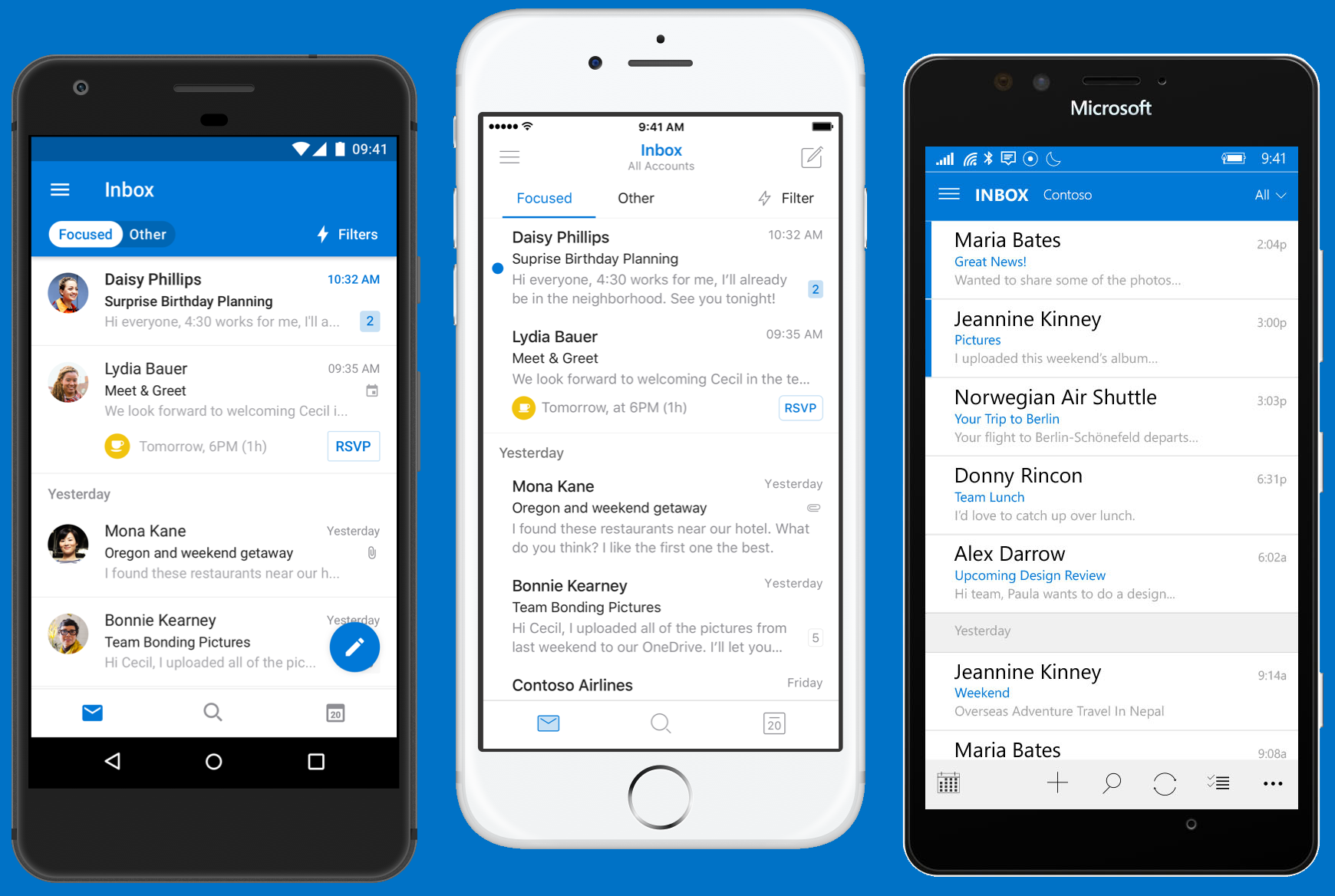 Outlook showing on three mobile devices